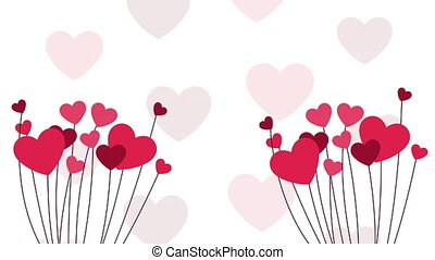 happy valentines day card with hearts garden