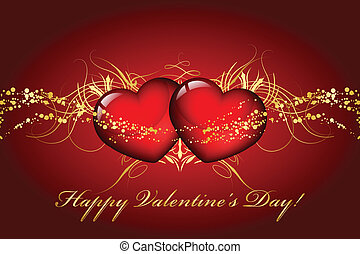 Happy Valentines Day card with hear
