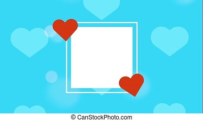 happy valentines day card with hearts in square frame