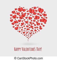 Happy Valentines Day Card With Hearts, Vector Illustration