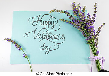 Happy Valentines day card with lavender flowers