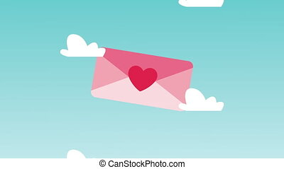 happy valentines day card with love envelope