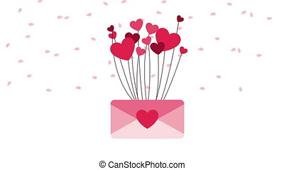 happy valentines day card with love envelope and hearts