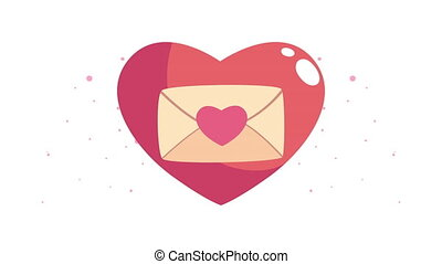happy valentines day card with love envelope in heart