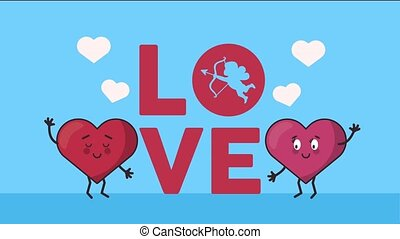 happy valentines day card with love word and hearts couple