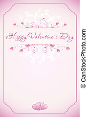 Happy Valentines Day Card with ornament, hearts, flowers, frame and arrow in pink color