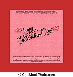 Happy Valentine's day card with pink pattern background