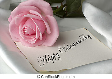 happy valentines day card with pink rose
