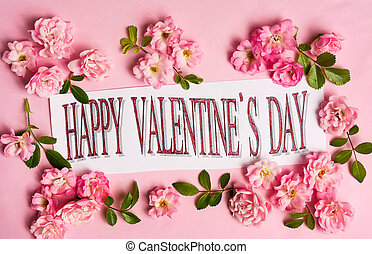 Happy Valentines day card with pink roses arrangement