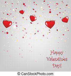 Happy Valentines Day Card With Red Hearts