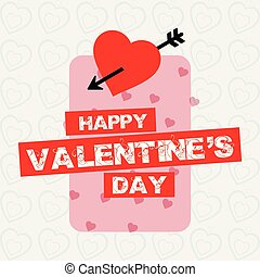 Happy Valentine's day card with simple white pattern background