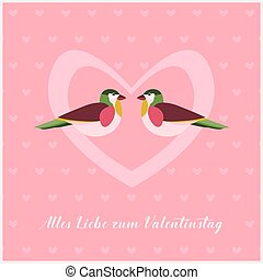Happy Valentines Day Card with two Birds in Heart. Small...