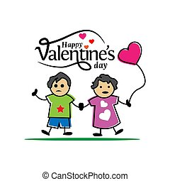 Happy Valentines day card with two children on the white background. Vector illustration