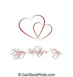 Happy Valentines day card with two heart, Be my Valentine background, vector illustration