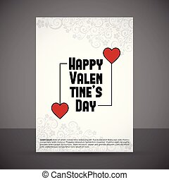 Happy Valentine's day card with white pattern background