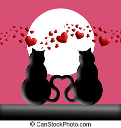 Happy Valentines Day Cats in Love Silhouette