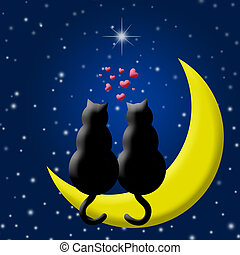 Happy Valentines Day Cats in Love Sitting on Moon and Hearts...