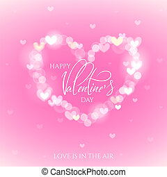 Happy Valentines Day celebration greeting card decorated with bokeh heart shape.
