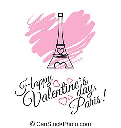 Happy Valentines Day celebration greeting card design with Eiffel Tower