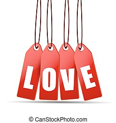 Happy Valentine's Day celebration with love tag.