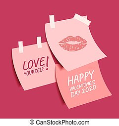 Happy Valentine's Day collection of cute sticky notes, Valentines Day background with text love yourself, Valentine card and poster