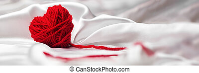 happy valentines day concept, knitted heart, banner