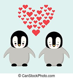 Happy Valentines day couple in love penguins. Penguin holding a heart. Plush toys penguin with heart. Kawaii