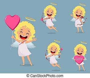 Cupid girl, cute cartoon character, set