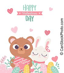 happy valentines day, cute bear with gift and rabbit hanging hearts love foliage decoration