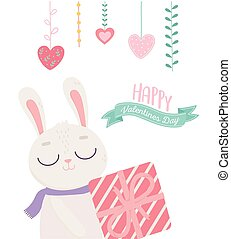 happy valentines day, cute bunny with striped gift box decoration hearts love