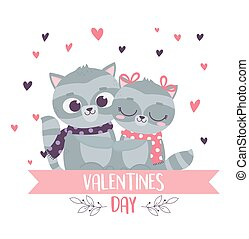 happy valentines day cute couple embraced raccoons with scarf love hearts