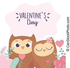 happy valentines day, cute couple owls hearts love foliage