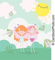 happy valentines day, cute cupids with hearts love romantic meadow foliage nature