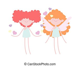 happy valentines day, cute cupids with hearts love romantic