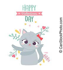 happy valentines day, cute female cat with bow flowers hearts love decoration