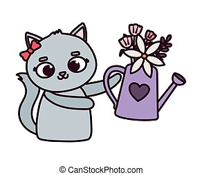 happy valentines day, cute female cat with watering can flowers