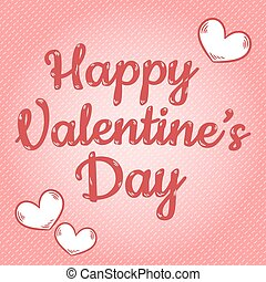 Happy Valentines Day cute inscription postcard template with stitched hearts