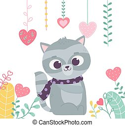 happy valentines day, cute raccoon with scarf hearts love foliage decoration