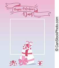 Happy valentines day design elements. Frame with copyspace for your text.