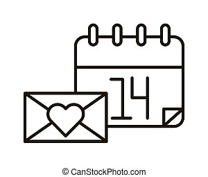happy valentines day envelope with heart and calendar