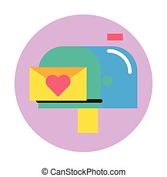 happy valentines day envelope with heart in mailbox