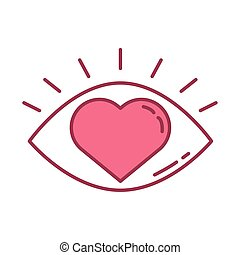 happy valentines day eye human with heart icon