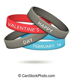 Happy Valentines Day, February, 14 rubber wristbands. Vector...