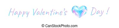 Happy Valentines day. Festive banner with a beautiful lettering and a delightful heart of neon blue-pink mix. Vector illustration