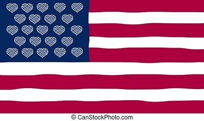 Happy Valentine's Day. Flag of United Hearts of Love. Wiggle animation