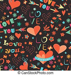 Happy Valentine's Day floral seamless pattern
