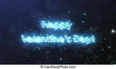 Happy Valentine's Day from plasma with smoke on the background of falling snowflakes. 3D render.