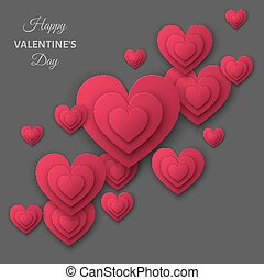 Happy Valentines day gray background with pink cut paper hearts.