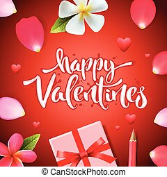 Happy Valentines day greeting card, gift boxe with red ribbon flowers and rose flower petals, vector illustration.