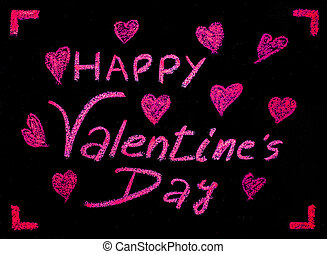 Happy Valentines Day greeting card, hand writing with chalk on blackboard, Conceptual illustration image of love.